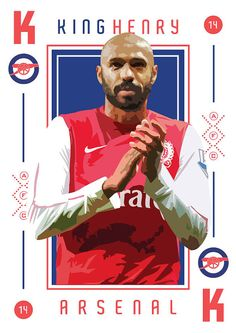 Thierry Henry King of Arsenal Print door KieranCarrollDesign #soccer #poster