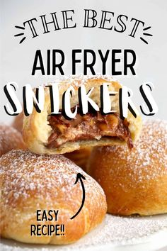 Air Fryer Snickers are perfectly air fried inside light, flaky crescent dough. Made in just minutes, you won't have to wait long! #friedsnickers #airfryersnacks Snickers Dessert, Snickers Recipe, Snickers Candy Bar, Fried Snickers, Crescent Dough, Holiday Recipes, Party Recipes, Feeding A Crowd, Barbecue Recipes
