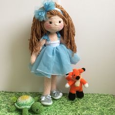 "Amigurumi 24"" doll turtle and fox"