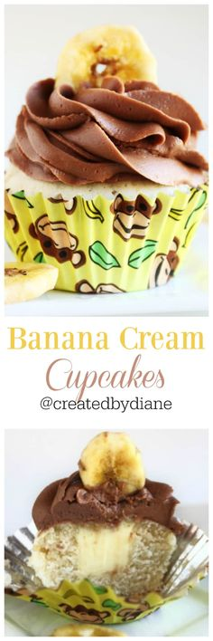 banana cream cupcakes chocolate buttercream frosting with topped with banana chips, www.createdbydiane.com