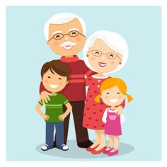 Happy grandparents with grandchildren on blue background. Happy Birthday Frame, Birthday Frames, Birthday Cards, Grands Parents, Grandchildren, Best Resume Template, Mini Canvas Art, Tree Illustration, School Decorations