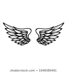 Wings Isolated On White Background Design Stock Vector (Royalty Free) 1048385491 Wing Tattoo Designs, Owl Tattoo Design, Airforce Ranks, Halo Tattoo, Guardian Angel Tattoo, Back Tats, Wings Drawing, Demon Tattoo, Black Rose Tattoos