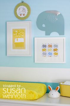 Turquoise & Yellow Nursery, but could be gray and yellow just as easily!