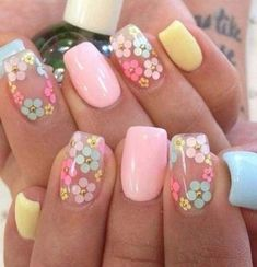If you are looking for the most popular Easter nail design of then you are in the right place. We have collected dozens of cute Easter nail designs, and you will love it . day makeup Cute Easter Nail Designs You Have to Try This Spring Easter Nail Designs, Easter Nail Art, Flower Nail Designs, Flower Nail Art, Nail Designs Spring, Gel Nail Designs, Nails Design, Daisy Nail Art, Pedicure Designs
