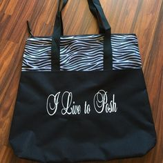 """Black & Zebra Print """"I Live to Posh"""" Tote Canvas Tote• Large Zipper• Large Bag for carrying your workout clothes, overnight, or Posh items. Port Authority  Bags Totes"""