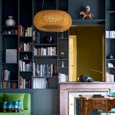 New Living Room Storage Solutions Toilets Ideas Living Room Red, Living Room Paint, Home And Living, Living Room Decor, Casa Milano, Decoration Gris, Blue Shelves, Bibliotheque Design, Muebles Living