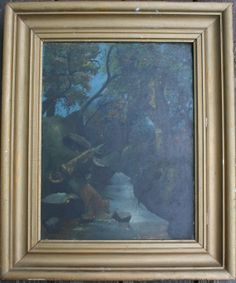 Antique Primitive Painting on Glass Framed by BluebirdCreekVintage, $55.00