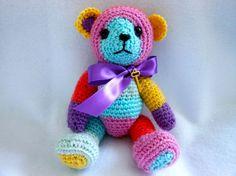 Small Crochet Teddy Bear in MultiColor Stripe Yarn by KatesCache