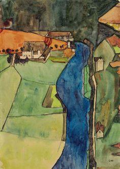 """lawrenceleemagnuson: """"Egon Schiele (1890-1918) Town on the Blue River, Krumau (1910) gouache, watercolor, metallic paint and black Conté crayon on paper 45 x 31.4 cm """""""