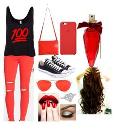 """""""Red dot tag"""" by karlynboo ❤ liked on Polyvore"""