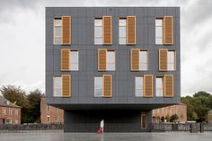 Image 1 of 10 from gallery of City square Mortsel / Abscis Architecten. Photograph by Thomas De Bruyne Architecture Office, Amazing Architecture, Architecture Design, Fiber Cement Board, Sustainable City, Facade Design, Modern Interior Design, Windows, Plaza