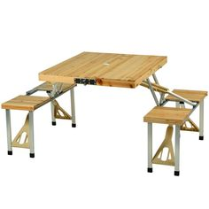 """<p>Attractive portable wood picnic table with built in seating for four. Constructed with a high strength aluminum alloy frame. Very easy set up, no tools required. Sturdy & light weight at only 18.5 lbs. Seats have 200 Lb. weight capacity. Table top is 33.5"""" x 28.5"""". Closes to 33.5"""" wide x 4.5"""" deep x 15"""" high, with attached swivel handle to carry. Lifetime warranty</p>"""