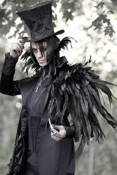 Mad Tea Party NeoVictorian Coat   Alex London Designs. Feathers, top hat, black, blazer, men's costume.