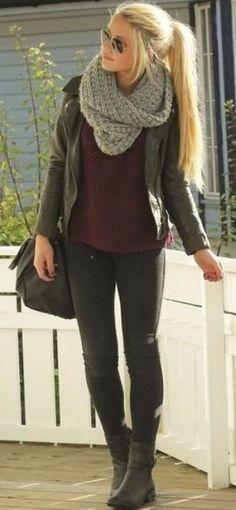 Leather jacket + scarf + knit sweater + leggings/ tight pants + ankle boots