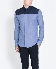 Image 1 of CHAMBRAY STRUCTURED TWO-TONE SHIRT from Zara