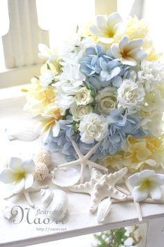 プルメリア 貝殻 ブーケ /   Plumeria Hydrangea starfish  Blue yellow /  bouquet