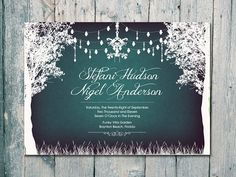Digital - Printable Files - Green Chalkboard - In the Winter Garden Wedding Invitation and Reply Card Set - Wedding Stationery - ID80CGN