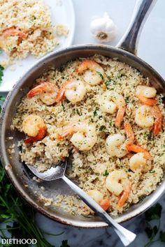 GF Garlic Butter Shrimp and Rice - Garlic Butter lends an amazing flavor to this speedy and incredibly delicious meal with Shrimp and Rice. Shrimp Rice Recipe Easy, Shrimp And Rice Recipes, Easy Rice Recipes, Shrimp Dishes, Rice Dishes, Fish Recipes, Seafood Recipes, Dinner Recipes, Cooking Recipes