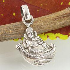 Ganesha Designer Pendant 925 Solid Sterling Silver PLAIN No Stone Top Gift Store #SunriseJewellers #Pendant