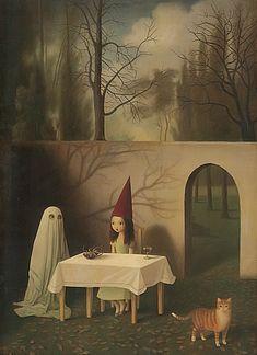 Stephen Mackey Coven of One Fantasy Weird Animal Cat Ghost Kid Print Poster sm Art And Illustration, Portrait Illustration, Inspiration Art, Art Inspo, Arte Peculiar, Pop Art, Arte Horror, Lowbrow Art, Coven