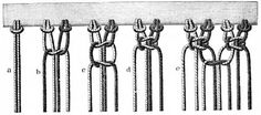 FIG. 516. KNOTTING ON THE THREADS ON TO A STUFF EDGE AND FORMATION OF A FLAT DOUBLE KNOT.