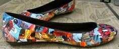 A geeky and fun craft I must try - DIY Modpodge comic book shoes!