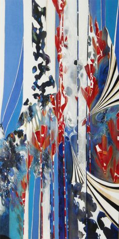 Blu & Red Acrylic Painting on Wood by Katrina Schaman