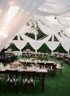 This gorgeous outdoor reception decor is completely amazing! So unique!