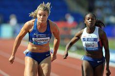 Dafne Schippers (NED) and Dina Asher Smith (GBR), Women's 100 m IAAF DIAMOND LEAGUE - Birmingham 2016 Copyright B&O Press Photo