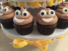 Check out these cupcakes at an emoji birthday party! See more party ideas at CatchMyParty.com!