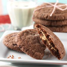 Peanut-butter filled soft chocolate cookies