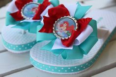 Made to match Ariel Flip Flops--The Little Mermaid-- Aqua, White and Red bow flip flops on Etsy, $24.95