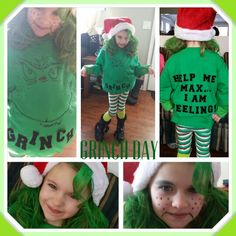 Grinchy Grinch Day at school to celebrate Dr Suess's Birthday.