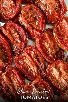 Slow-roasting transforms a great tomato, or even a not-so-great tomato into a luscious, flavor-dense, chewy treat. They stand alone in a… Vegetable Recipes, Vegetarian Recipes, Healthy Recipes, Veggie Food, Salad Recipes, Clean Eating, Healthy Eating, Slow Roasted Tomatoes, Roasted Tomatoe Recipe