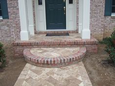curved brick step idea for entrance to kitchen in schoolhouse reno project,  use leftover bricks from knocking through wall.