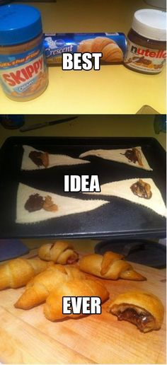 QUICK & EASY SWEET SNACK: crescent rolls, creamy peanut butter, & Nutella ~ open & separate crescents ~ spread even amts. of PB & Nutella on crescent rolls ~ roll up, then bake according to pkg. -- the caption says it all: best idea ever! Think Food, I Love Food, Good Food, Yummy Food, Nutella Recipes, Lunch Snacks, Kids Meals, Yummy Treats, Sweet Treats