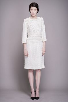 Ivory Tweed Dress with Trim click for more information