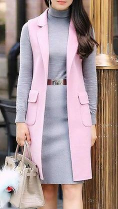 Long Vest Outfit, Vest Outfits, Fall Outfits, Long Cardigan, Modest Fashion, Hijab Fashion, Korean Fashion, Fashion Dresses, Cardigan Fashion