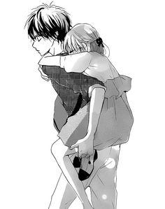 couple animé, noir et blanc, savon, amour, manga