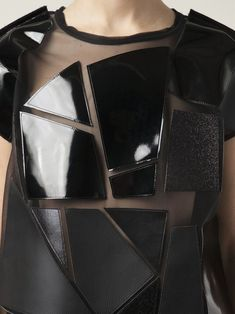 Sheer top with leather applique panels; sewing idea // Junya Watanabe Comme des Garcons - Patent black combined with matt Couture Mode, Couture Fashion, Fashion Art, Womens Fashion, Fashion Design, Fashion Trends, Fashion Beauty, Couture Details, Fashion Details