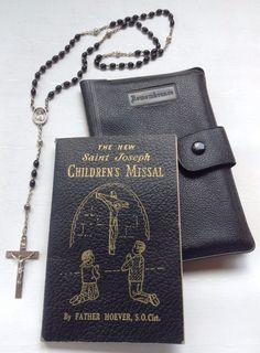 Vintage 1959 Saint Joseph CHILDREN'S MISSAL w/ Rosary