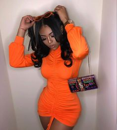 Dope Outfits, Trendy Outfits, Girl Outfits, Summer Outfits, Fashion Outfits, 70s Fashion, Miami Outfits, Orange Outfits, Winter Fashion