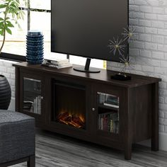 """Zipcode Design™ Evan 66.5"""" Wide Square Arm Convertible Sofa & Reviews   Wayfair Built In Electric Fireplace, Glass Shelves Kitchen, Kitchen Display, Kitchen Cabinets, Cool Tv Stands, Glass Panel Door, Living Room Sets, Engineered Wood, Adjustable Shelving"""