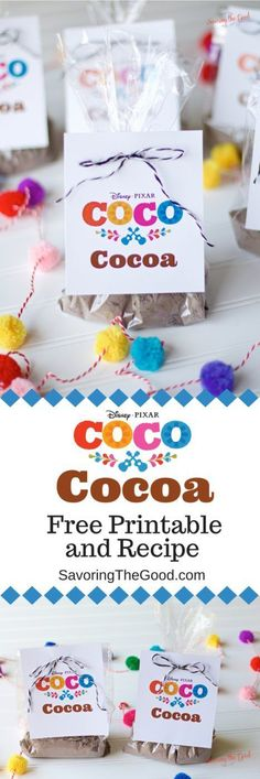 Perfect for Day of the Dead celebrations, Cocoa inspired birthday parties or Halloween Trick Or Treating. Enjoy this free Pixar Coco Cocoa Mexican Hot Chocolate Mix Recipe and Printable. #pixarcoco #dayofthedead #mexicanhotchocolate