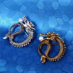 New Sale Gold/Silver Dragon Playing With a Pearl Brooch Pin offered by lovehouse2010  on eBay
