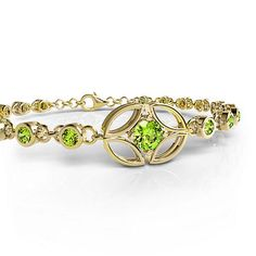 Yellow Gold Peridot Bracelet - Gemify Palm Beach Line Bracelet
