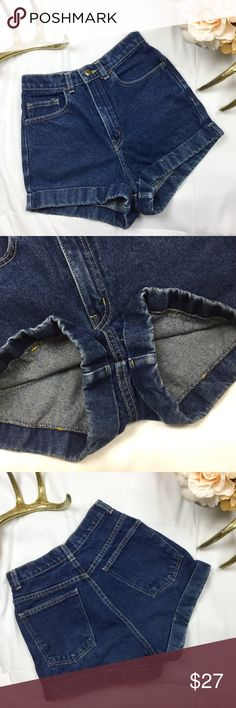 American Apparel medium blue high waist shorts 26 Medium blue American Apparel high waisted shorts, high quality cottony denim, preowned in great condition! American Apparel Shorts Jean Shorts