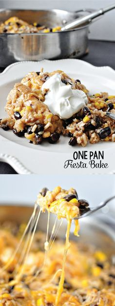 Simple One Pan Fiesta Bake - whip up this easy dinner in just one pan.  Must try!