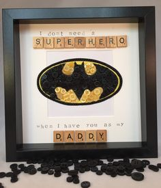 Batman Fathersday Button Art Frame by Imaginewithbuttons on Etsy