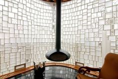 glass block mosaic wall -- one of the more beautiful and creative uses of the material I've seen